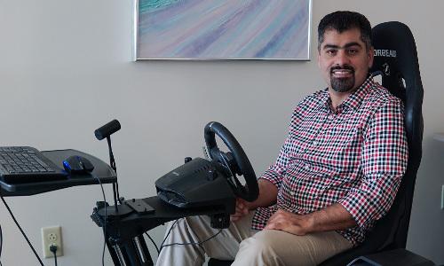 Mehrdad Nojoumian in Florida Atlantic University's autonomous vehicle lab